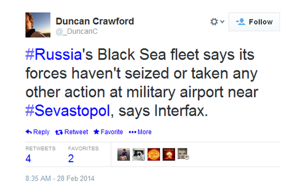 The BBC's Duncan Crawford tweets a denial by the Black Sea fleet that it is involved in today's action