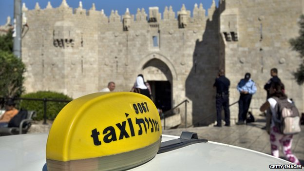 A taxi outside Jerusalem's Damascus Gate