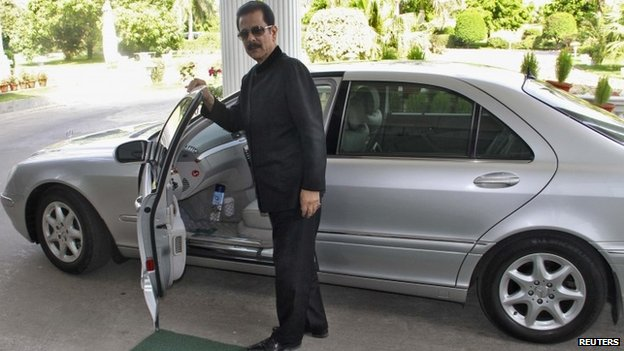 Sahara Group Chairman Subrata Roy poses for a photograph outside his office in Lucknow on 6 May 2013