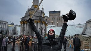 protester in independence square Kiev after Yanukovyich ousted as president