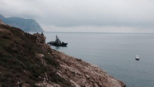 Russian military boat outside Balaklava Bay in Crimea
