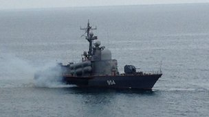 Russian warship in Balaklava Bay