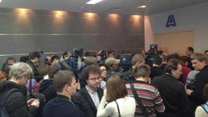 Journalists waiting for Yanukovych news conference