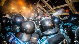Photo taken in December 2013 shows Berkut riot police storming the barricades set up by pro-EU protesters on Independence Square in Kiev.