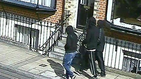 CCTV showing Pierre Lewis, Jemmikai Orlebar-Forbes, and Isaac Boateng,