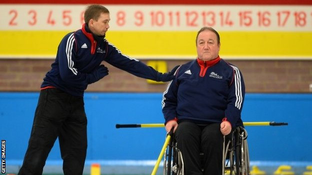 GB wheelchair curler Tom Killin with coach Tony Zummack