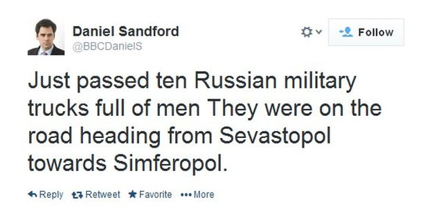 Troops are on the move in Crimea, tweets the BBC's Daniel Sandford