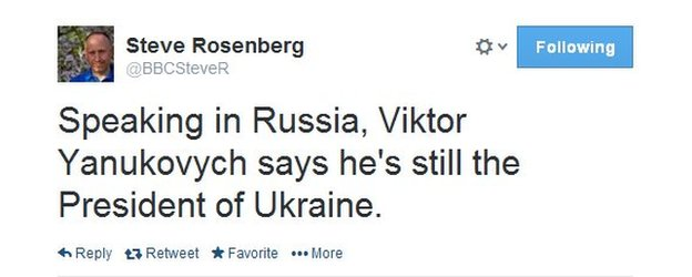 Steve Rosenberg said Viktor Yanukovych insisted he remains Ukraine's legitimate leader in the press conference