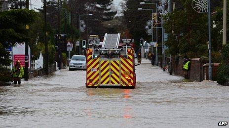 Flooding in St Asaph on Tuesday