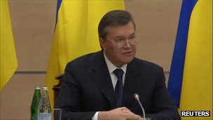 Viktor Yanukovych gives press conference in Russia