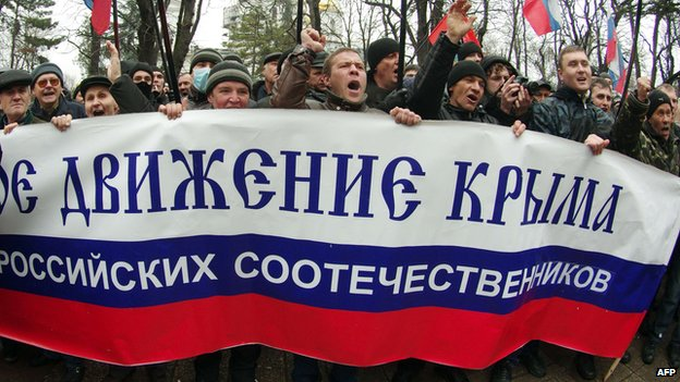 Ethnic Russians in Crimea reject the new leaders in Ukraine's