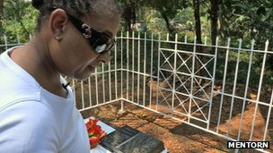 Doreen Lawrence in Jamaica at her son's grave