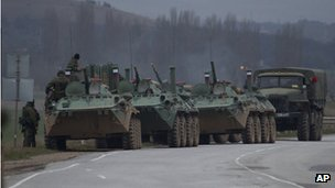 Russian armoured personnel carriers and a truck near Bakhchysarai, Crimea. Photo: 28 February 2014