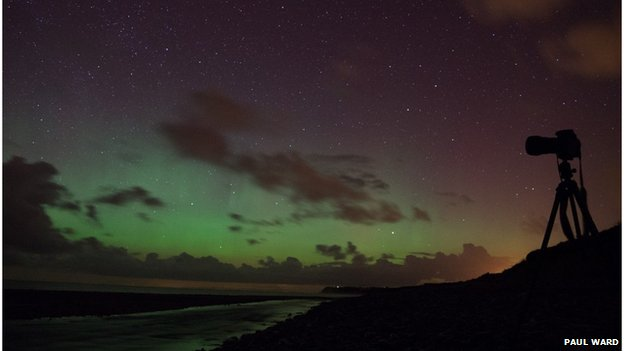 Northern Lights from Ballaugh Shore on the Isle of Man
