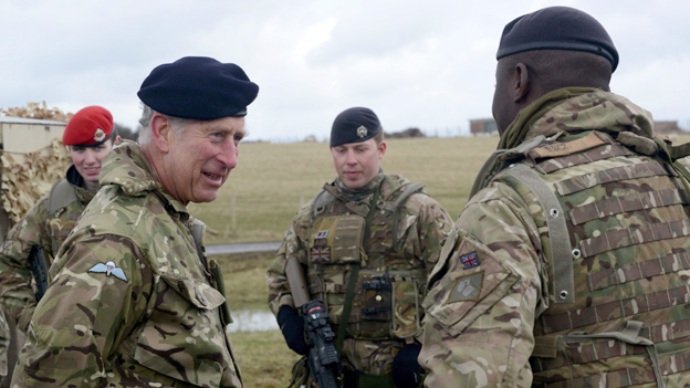 Prince Charles talks to soldiers