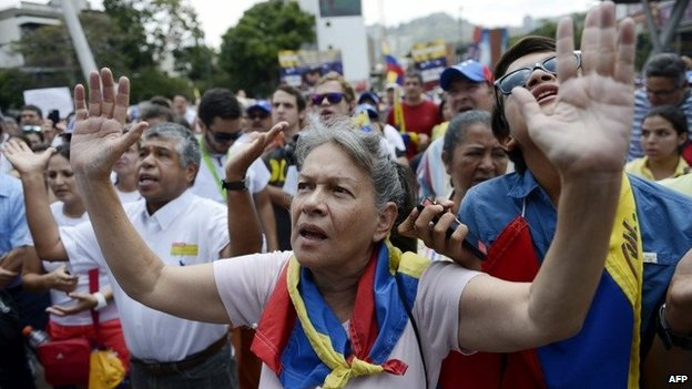 Anti-government demonstrators protest in eastern Caracas on February 28