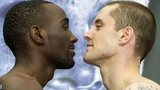Ricky Burns (right) squares up to Terence Crawford at the weigh-in.