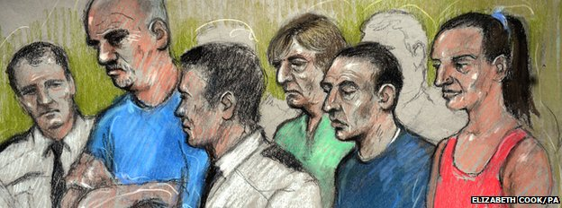 "An artist""s impression of Gary Stretch (2nd left), Leslie Layton (5th left), Robert Moore (centre) and Joanna Dennehy (right) in the dock at the Old Bailey, London"