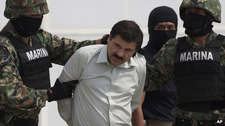 "Joaquin ""El Chapo"" Guzman is seen in custody in Mexico City, Mexico, on 22 February 2014"