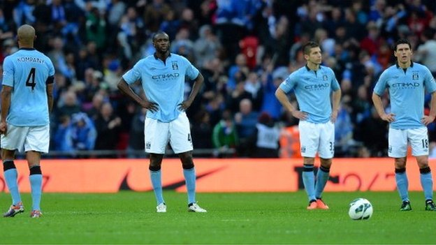 Vincent Kompany, Yaya Toure, Matija Nastasic and Gareth Barry
