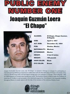 A Chicago Crime Commission poster calling Joaquin Guzman Public Enemy Number one, dated 14 February 2013