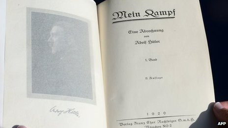 The title page of a copy of Mein Kampf which sold at auction in Los Angeles