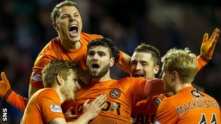 Nadir Ciftci celebrates Dundee United's opening goal against Hibernian