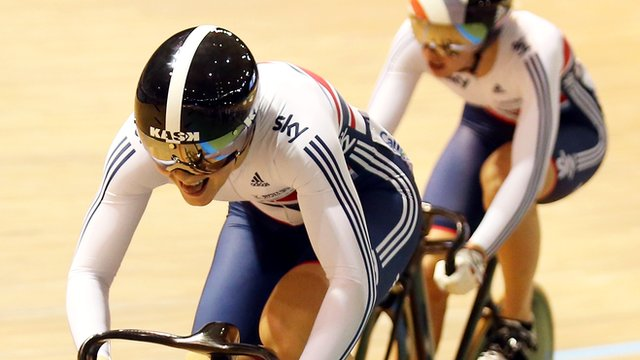 Jessica Varnish wins the all-British quarter-final in the women's individual sprint at the World Track Cycling Championships in Cali, Colombia on Friday.