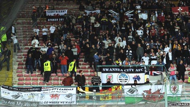 Swansea fans in Napoli