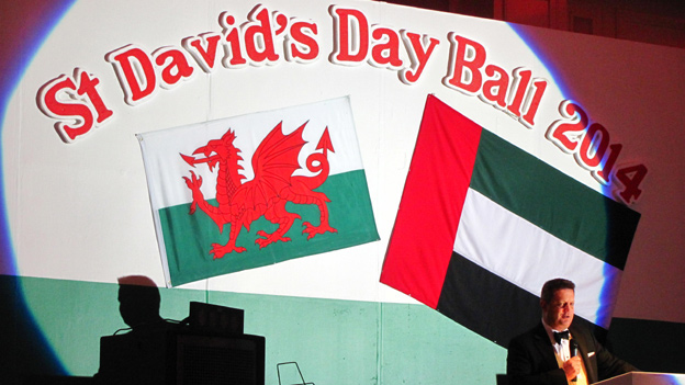 Natural Resources and Food Minister Alun Davies addressed the Dubai Welsh Society St David's Day dinner