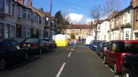 The scene on Montague Road, in Leytonstone