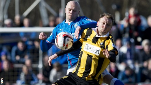 Rangers midfielder Nicky Low and East Fife's Stephen Hughes