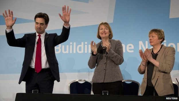 Labour Party leader Ed Miliband, deputy leader Harriet Harman, shadow leader of the House Angela Eagle