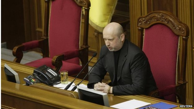 Ukraine's Acting President Oleksander Turchinov has called an emergency meeting of his security chiefs, report correspondents