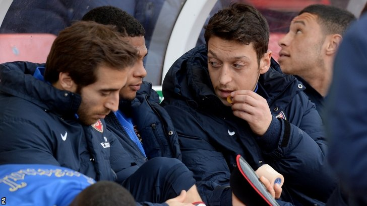 Mesut Ozil on the bench for Arsenal