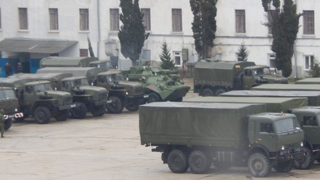 Army trucks photographed from Veronika Akcsiodina's university window in Sevastopol