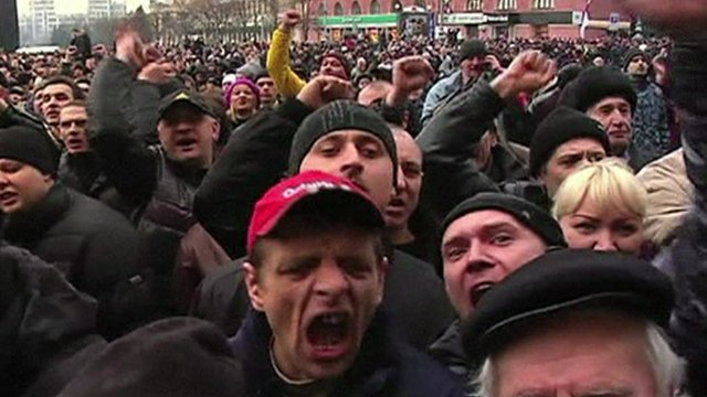 Protesters in Kharkiv