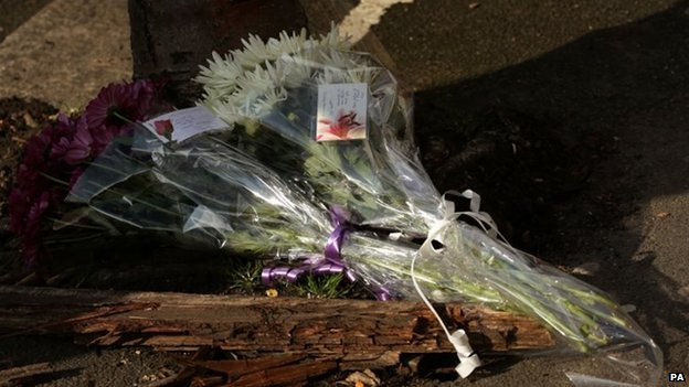 Flowers placed at the murder scene