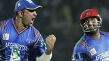 Samiullah Shenwari and Mohammad Shahzad celebrate Afghanistan's win