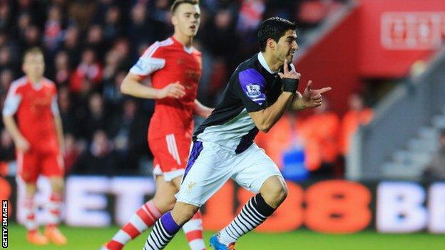 Liverpool striker Luis Suarez celebrates scoring against Southampton