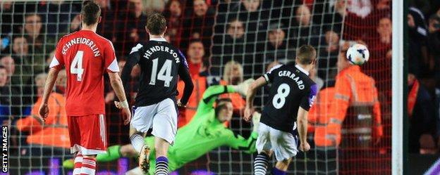 Steven Gerrard scores at Southampton