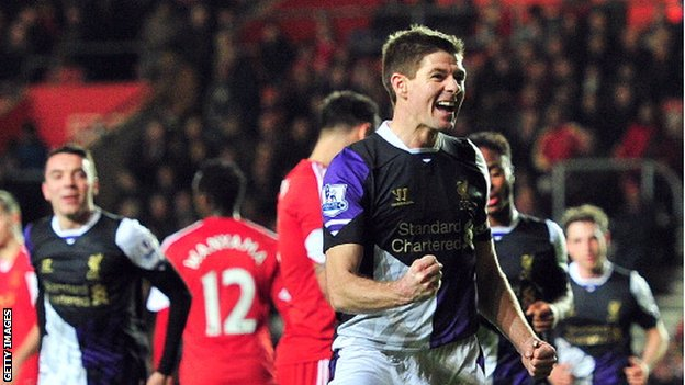 Liverpool's Steven Gerrard celebrates scoring against Southampton