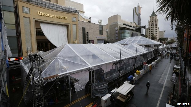 Oscars red carpet under protective covering outside Dolby Theater 1 Mar 2014
