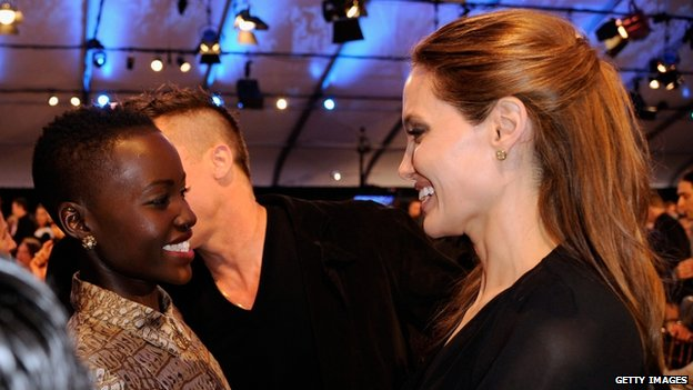 Lupita Nyong'o and Angelina Jolie at the Independent Spirit Awards, Santa Monica, 1 March 2014