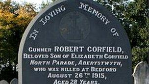 Robert Corfield's grave