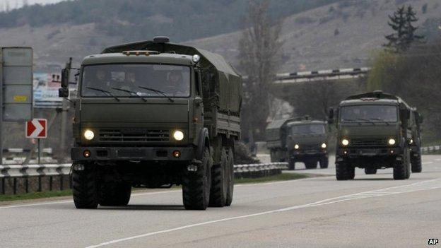 A Russian convoy moves from Sevastopol to Simferopol in the Crimea