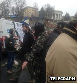 Bagpiper at Kiev anti-Russian protest (picture from Damian McElroy, Telegraph), 2 March