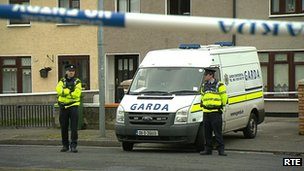 Irish police sealed off the scene of the shooting in west Dublin