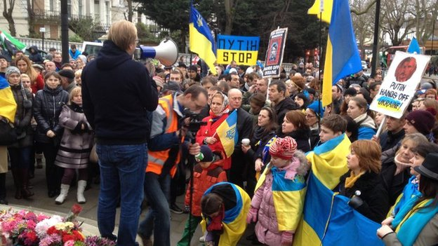 Protest at Ukrainian embassy