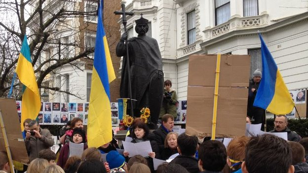 Protest at Ukranian embassy